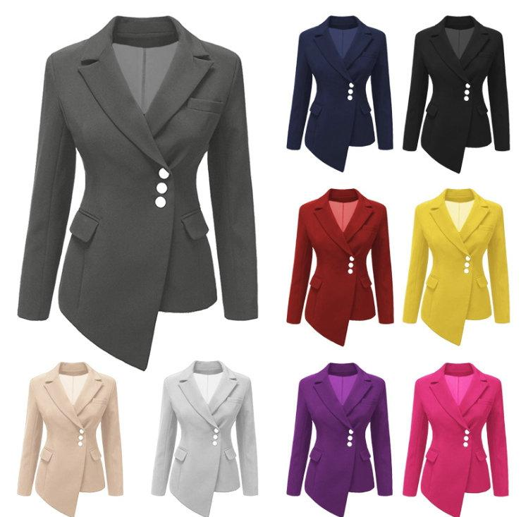 b47ed48fcb5 2019 New Arrival Lapel Women S Blazer Suit Long Sleeve Slim 2018 Spring  Autumn Ladies Suits Fashion Casual Blazer Asymmetric Coat Plus Size From  Wuarray