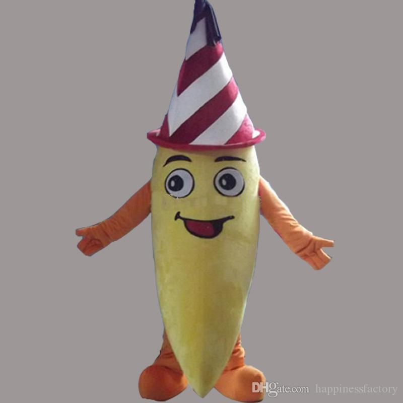 2018 Discount Factory Sale Fruit Banana Mascot Costume Red Hat Fancy