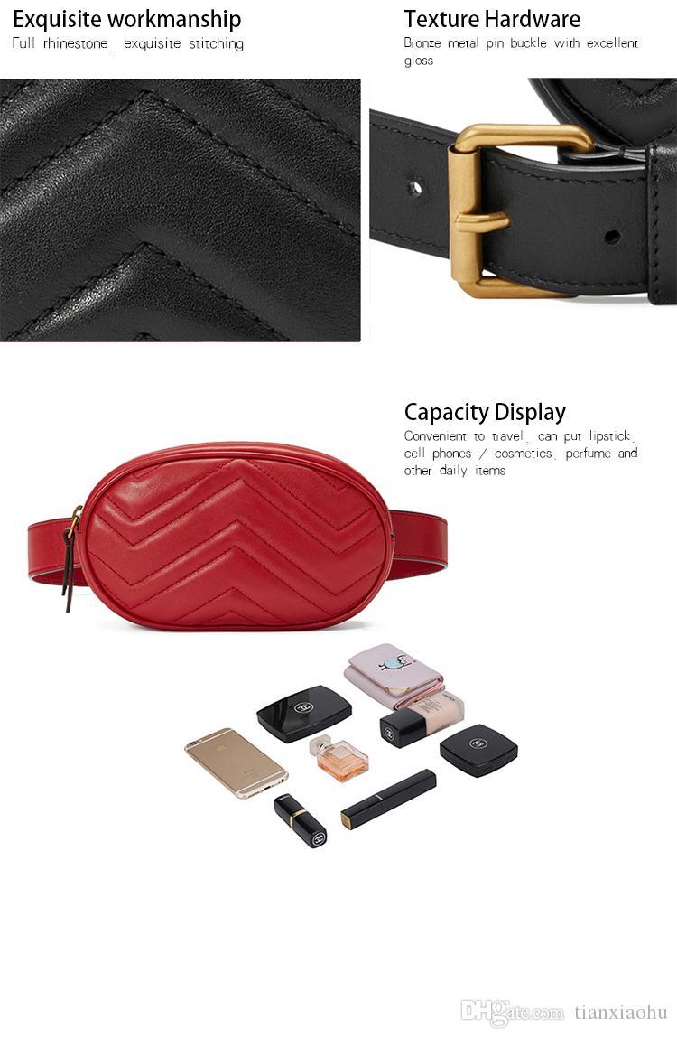 2018 Yeni Lüks Çanta Kadınlar Çanta Tasarımcı Bel Çantası Fanny Lady Kemer Torbaları Kadın Ünlü Marka Göğüs Çanta Paketleri