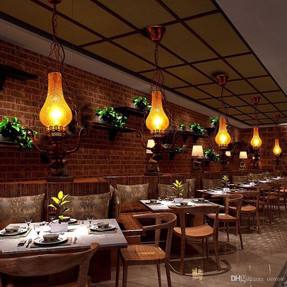 OOVOV Iron Kerosene Hallway Balcony Pendant Light Nostalgic Dining Room Cafe Bar Store Pendant Lamp Chandelier