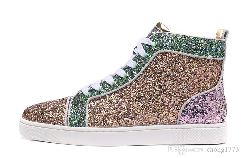 724aa5ca50f 2019 Fashion Luxury Red Bottom Sneaker Rantus Orlato Flat Glitter Mens  Womens High Top Casual Sneakers Multi Color From Chong1773