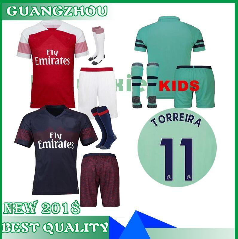 News 2018 2019 Arsenal Home Away 3rd Kids Kits+socks Soccer Jersey ... 8d1b1f5ff