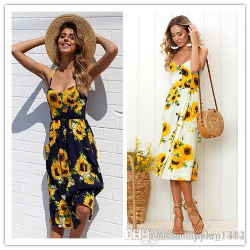 d17a50e636d New Women Summer V Neck Dresses Floral Printed Bohemian Beach Dot Print  Dress Ladies Dress Sexy Maxi Floor Length Sleeveless Dress Party And  Cocktail ...