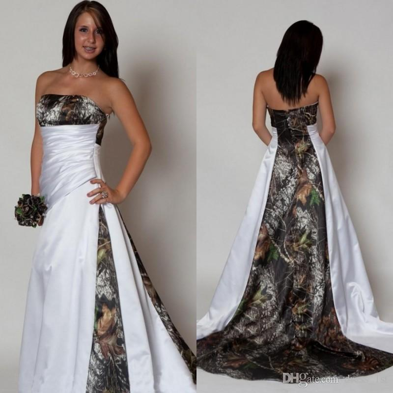 d59eba646db Discount Country Style Camo Wedding Dresses 2019 New Pattern Strapless A  Line Chapel Train White Satin And Realtree Camouflage Bridal Gowns Wedding  Shop ...