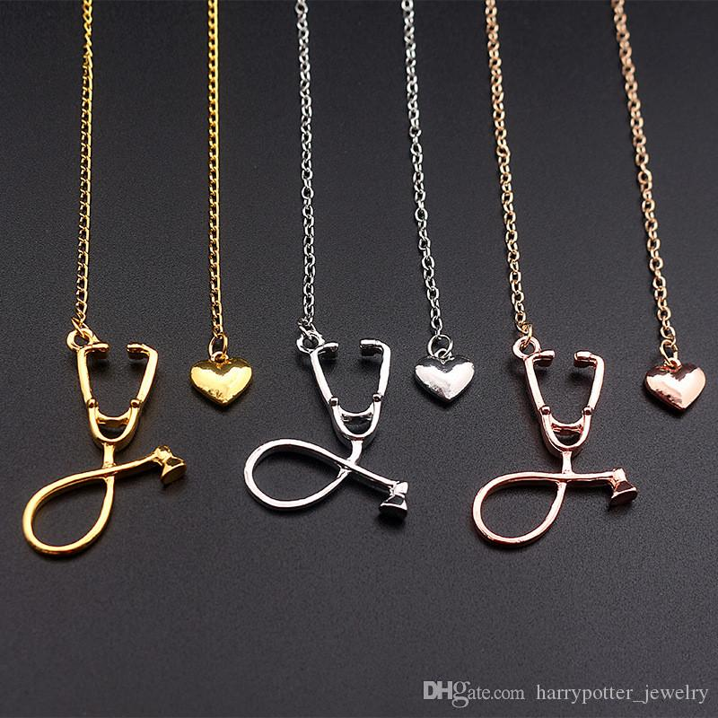 Stethoscope Lariat necklace,Heart and Stethoscope Pendant for Doctor medical student Gift,the Doctor Nurse Jewelry drop shipping 162506