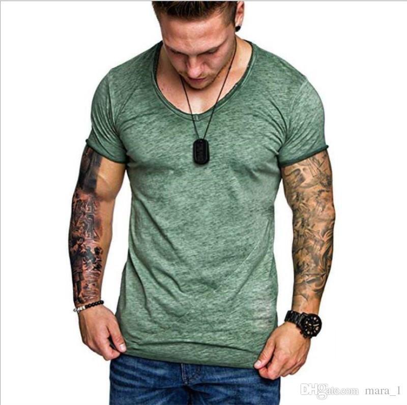 Männer Reine Farbe T-shirts Kurze Slevelve V-ausschnitt Baumwolle mischung T-shirts Hip-Hop Übersteigt T-stücke M-3XL 5 Farbe DHL