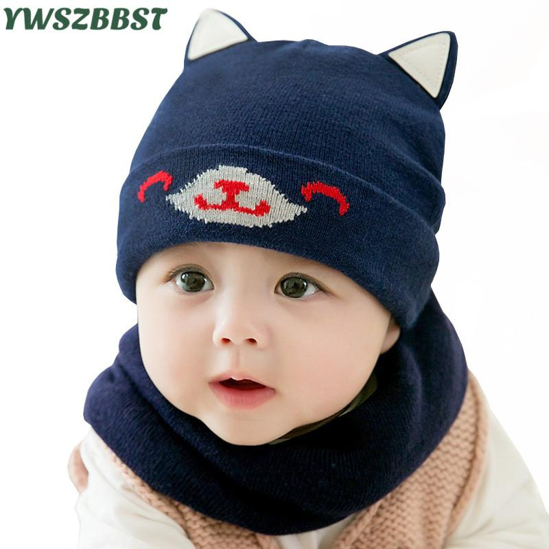 ea6f827a7c21b New Autumn Winter Cotton Baby Hat With Dog Ear Knitted Children Beanies Cap  Scarf Collar Girls Boys Warm Wool Hat Toddler Caps Canada 2019 From  Longanguo