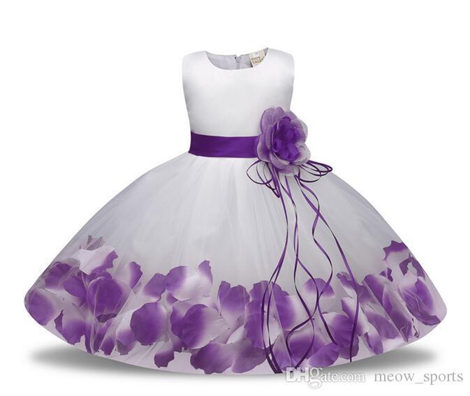 cb7cbe9366200 Newborn Baby Girl 1 Year Birthday Dress Petals Tulle Toddler Girl  Christening Dress Infant Princess Party Dresses For Girls 2T