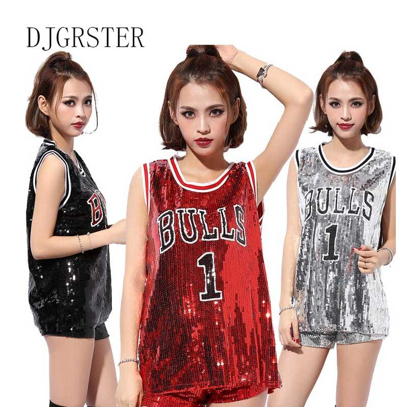 2dad41cd87de 2019 DJGRSTER Female Singer Sexy Costume Silver Red Sequins Dance Wear Bar  Dj Clothes Top Stage Costumes Women Singer Hip Hop Costume From Firstcloth,  ...