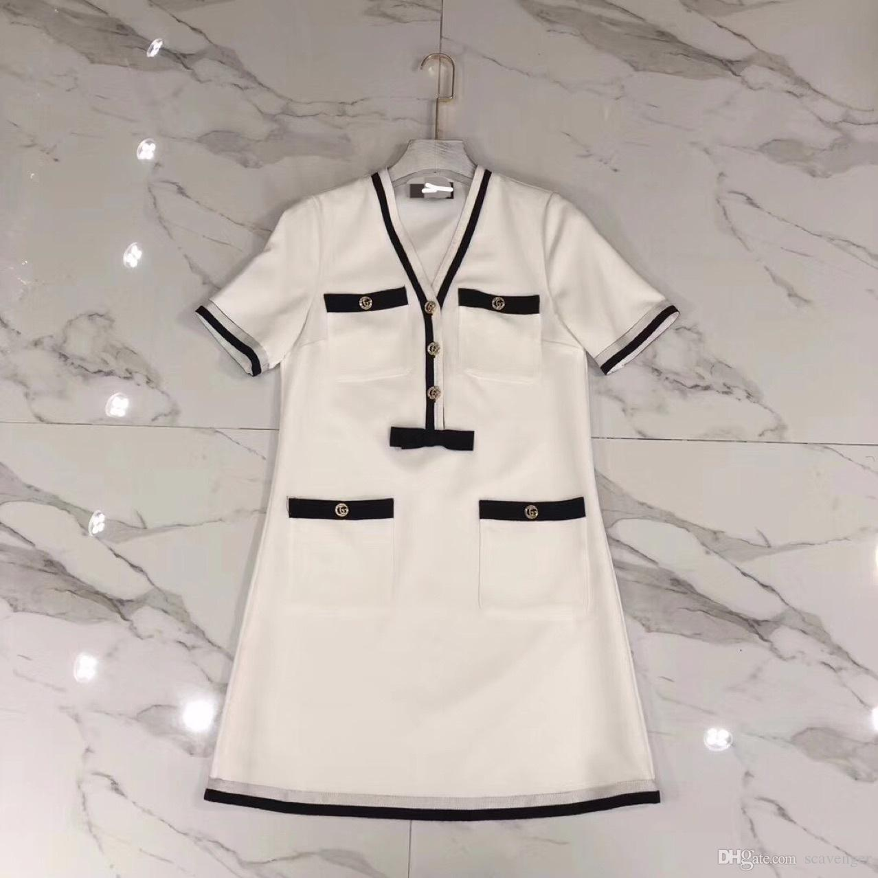 High - end women's black-and-white gold standard contrast color large v - neck short sleeve dress women's net color dress new summer 2018