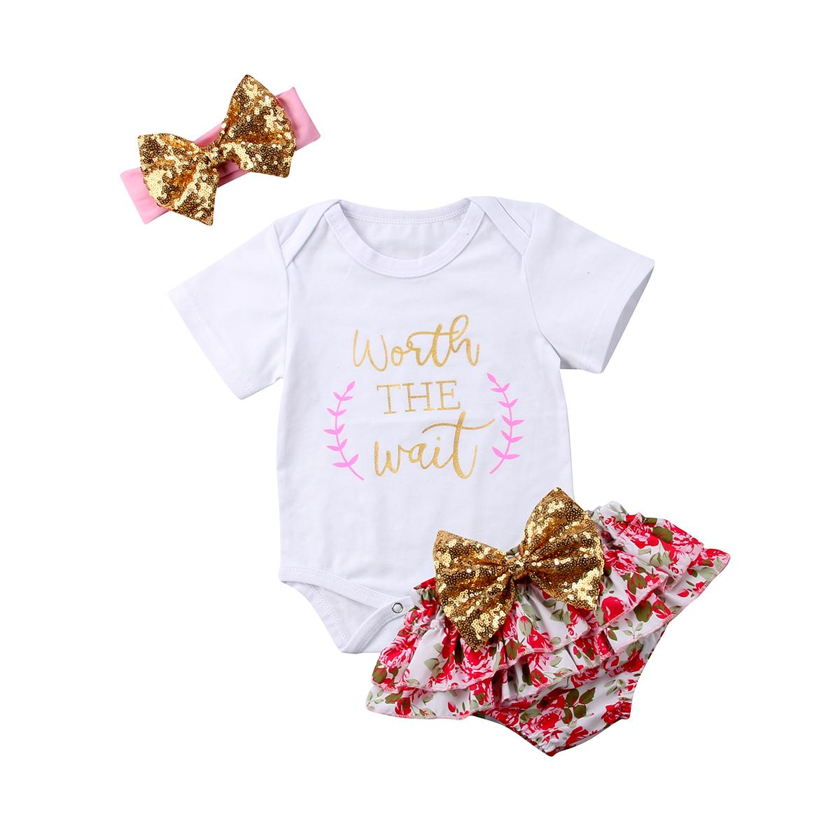 6f0fd47899ee 2019 Leers Print Flower Baby Clothes Set Summer Newborn Baby Girl Short  Sleeve Rompers+Floral Bowknot Shorts+Headband Outfits Set From Paradise13