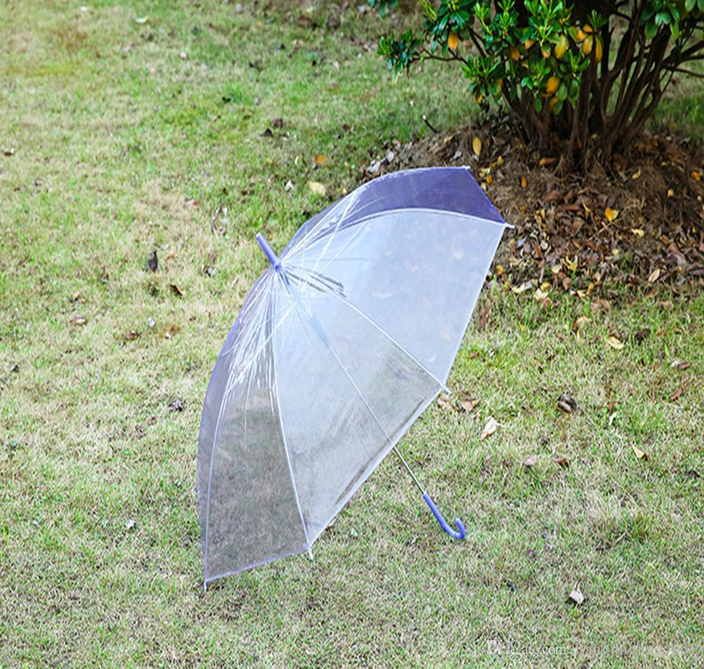Transparente Transparente Lluvia Paraguas PVC Lluvia Cúpula Burbuja Lluvia Sombra de sol Mango largo Varilla recta Paraguas DDA164