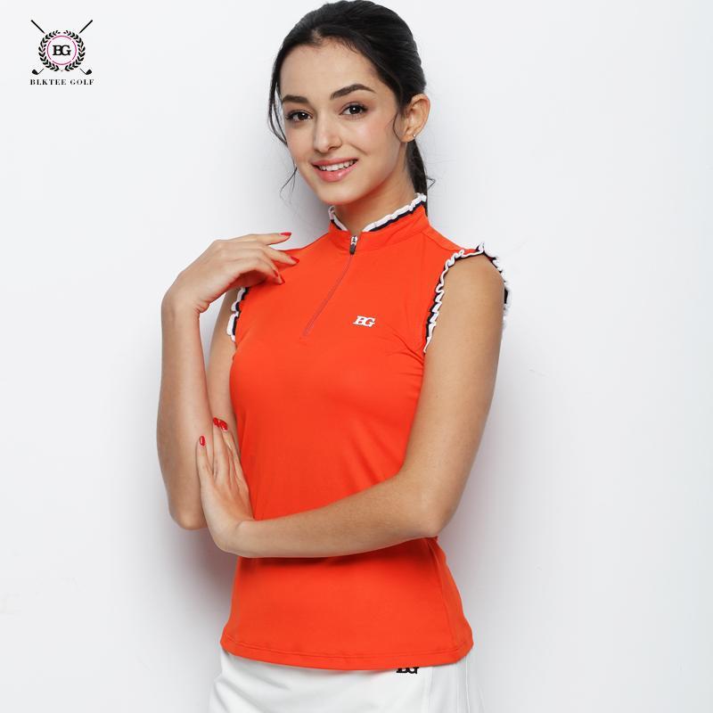 fc9cf750 2018 BG Women's Golf Sleeveless Anti-Wrinkle T-shirt Ladies Summer Korean  Version Quick Dry Golf POLO Shirt 2 Color Orange White