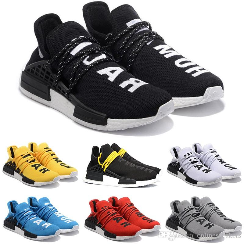 28e70727f662a 2019 Human Race Running Shoes Men Women Pharrell Williams HU Runner Yellow  Black White Red Grey Blue Cheap Athletic Sports Sneakers From  Onlinesneakers