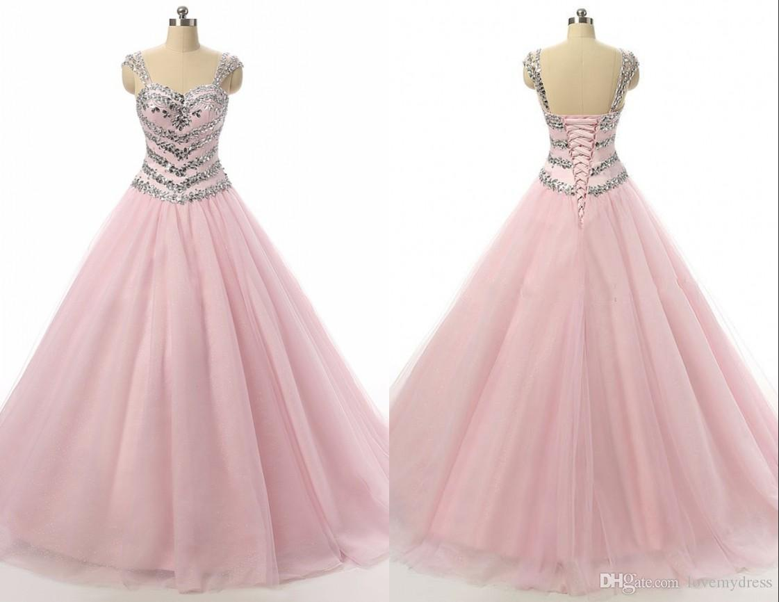 Real Photo Bling Crystal Ball Gown Quinceanera Prom Dresses Long ...