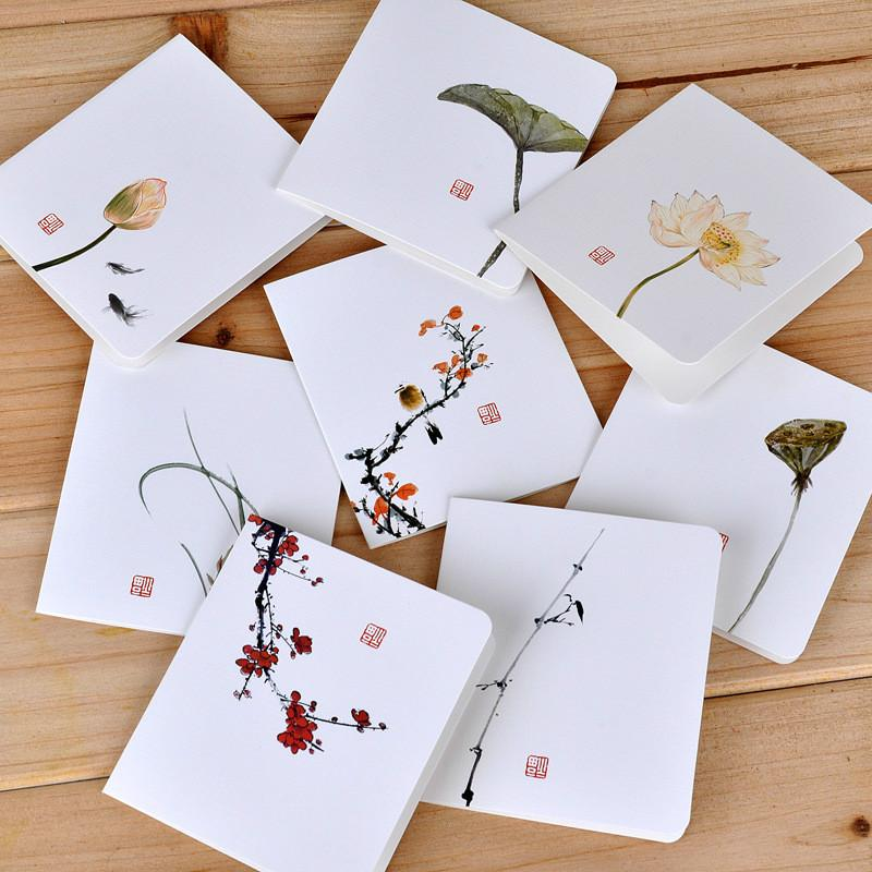 Chinese Style White Simple Greeting Card DIY Folding Gift Paper Christmas New YearS Day Birthday Message Memo Pad Options Cards Email