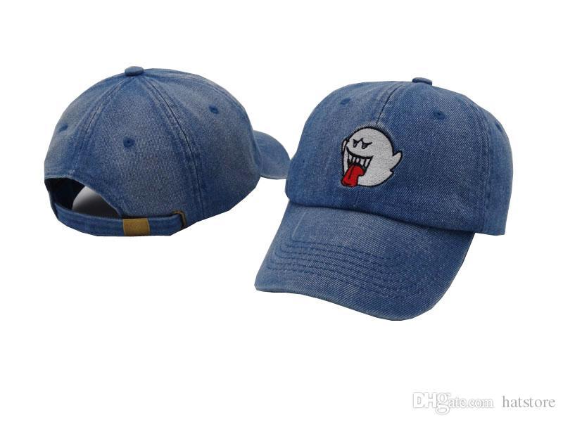 2018 New Blue Denim Distressed Boo Mario Ghost Mens Women Unisex Cap Hat  Hip Hop Baseball Cap Golf Strapback Hats For Men Caps For Men Custom Baseball  Hats ... aaac5385ed4b