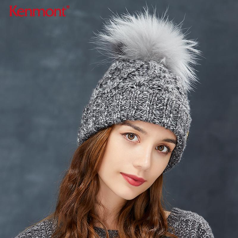 b37deb955b9 2019 Kenmont Detachable Fur Ball Thickened Thick Woolen Hat Children Winter  Moisture Wool Knitted Cap Flange Outdoor Sports Warm From Youtuo
