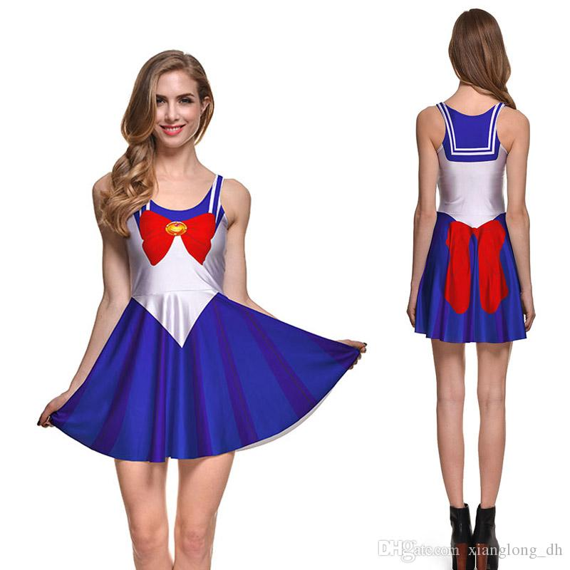 42016ba1e20e3 NEW 1059 Plus Size Summer Women Dress Sailor Moon Royal Blue Cosplay 3D  Prints Reversible Vest Skater Sexy Girl Pleated Dress Teenage Dresses For  Sale Long ...