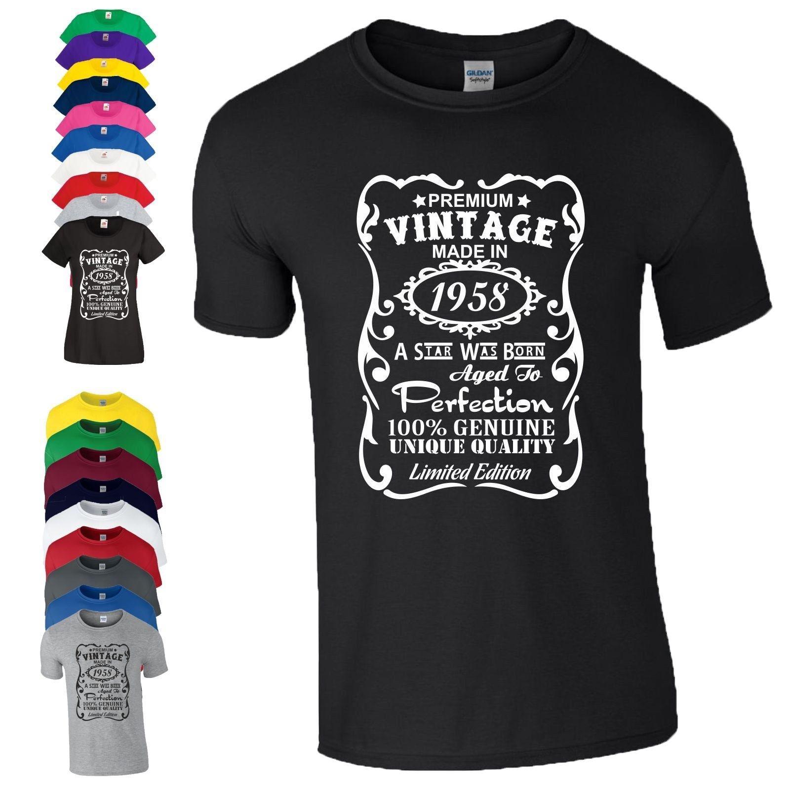 Grosshandel 60 Geburtstag Geschenk T Shirt Made In 1958 Vintage Star