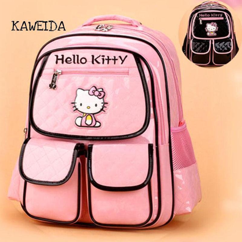 234ef52e3 PU Leather School Bag For Teenager Girls Pink Hello Kitty Bag Fashion  Designer Children Bagpack Backpack Schoolbag Black Messenger Bags For School  Bags For ...