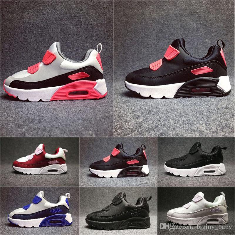 776ec08f9f8 Compre Nike Air Max 90 2018 Crianças Sapatilhas Sapatos Clássicos 90 Tênis  De Corrida Preto Vermelho Branco Esportes Trainer Air Cushion Superfície ...