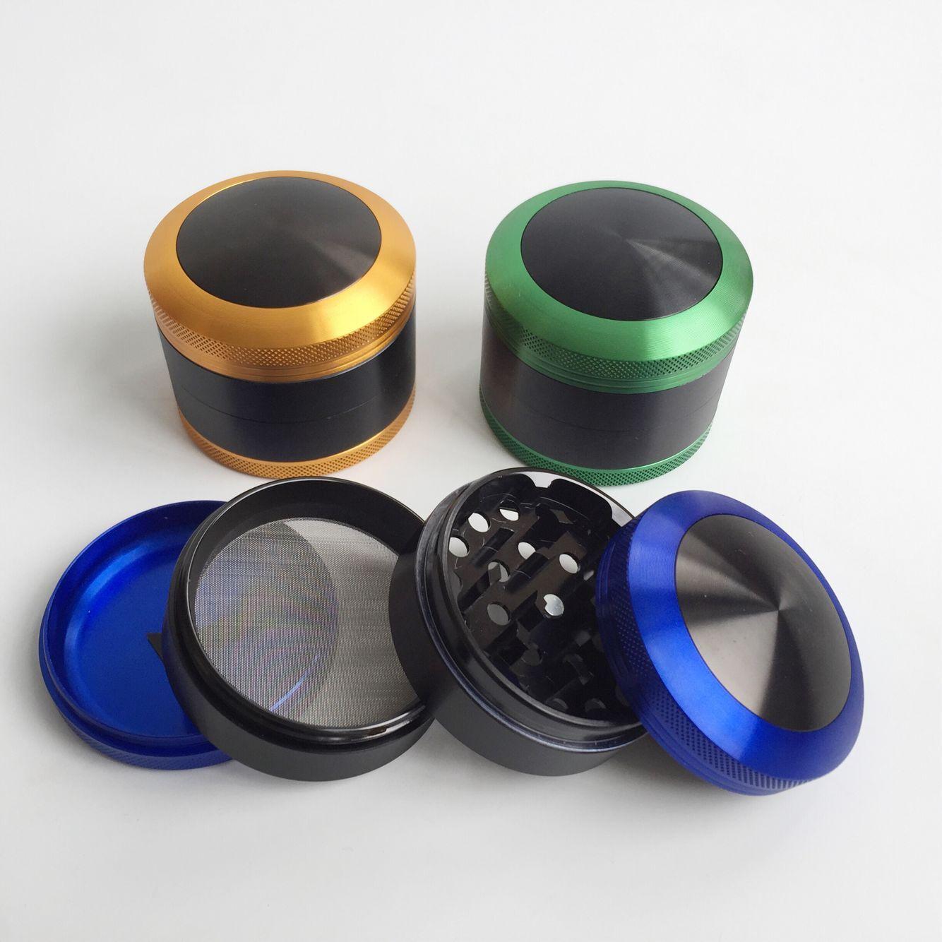 Venta al por mayor 63 mm aleación de aluminio convexo Cap herb grinder 4 capas CNC dientes tabaco amoladora DHL envío gratis