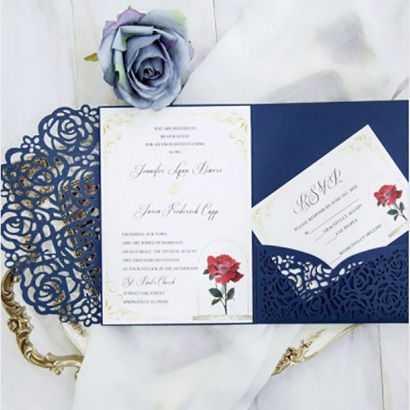 navy blue laser cut pocket wedding invitation suites customizable