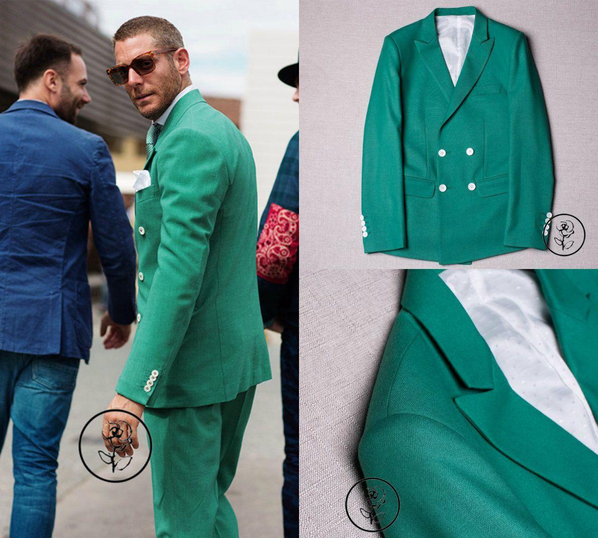 Green Custom Slim Fit Mens Suits Business Suit Jacket + Pants ...