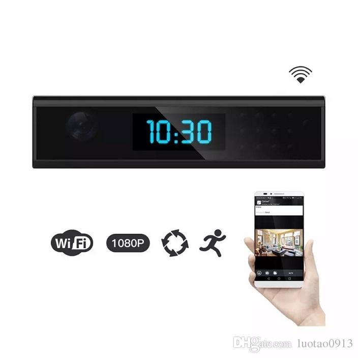 1080P WiFi Nanny Camera Clock with 165 degree Wireless Home Security Cam  Motion Activated Wall/Battery Powered, App Control & Remote