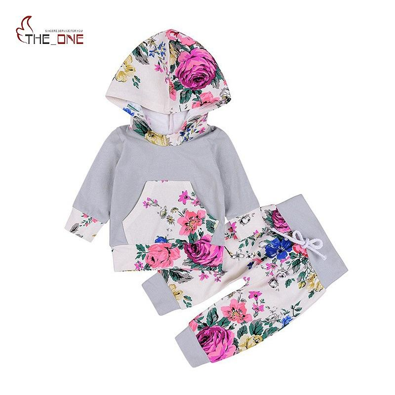 290275c22364 2019 MUABABY Baby Girls Floral Printed Clothing Set Children Autumn ...