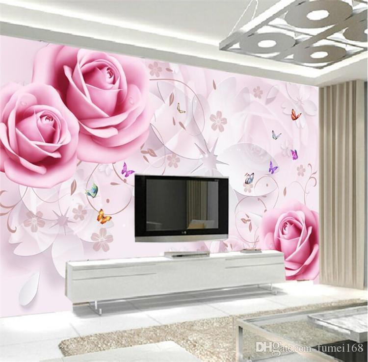 rosa fiore carta da parati murale grande foto wallpaper per soggiorno  camera da letto tv sfondo muro decorazione murales 3d murales personalizzati