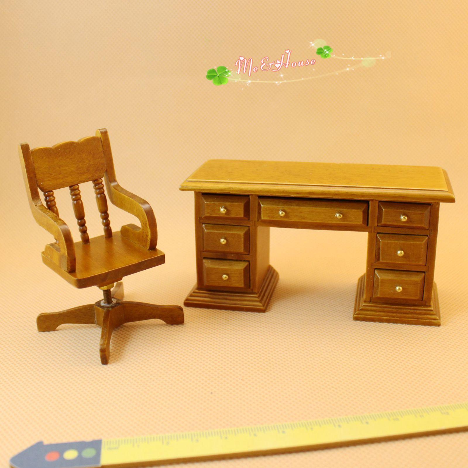 Scrivania In Legno Di Noce.Acquista Mobili Da Studio In Miniatura Da Casa Delle Bambole Mobili