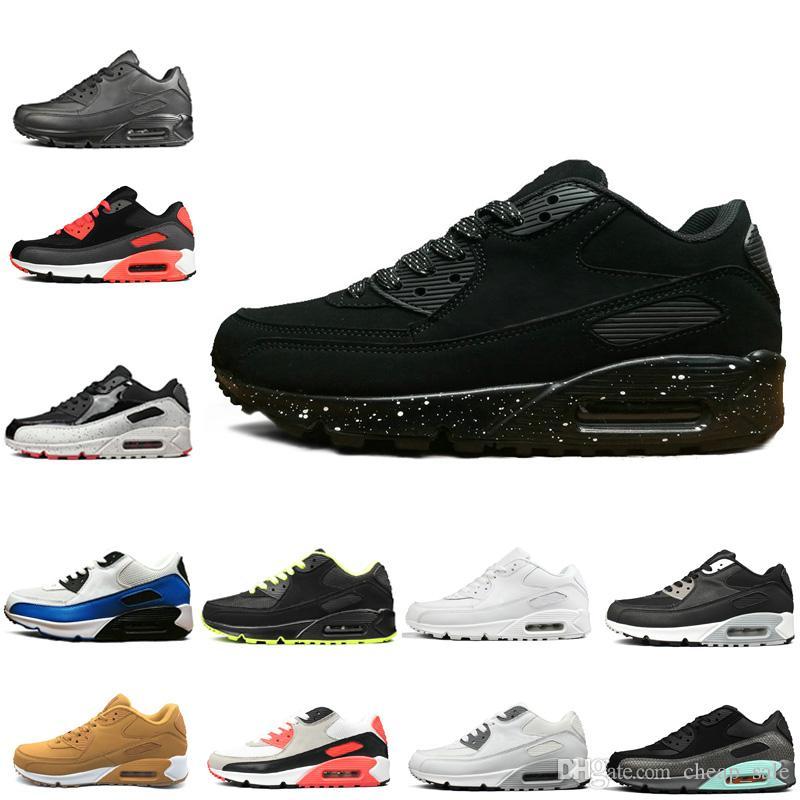 new product be2c7 b7913 Compre Nike Air Max 90 Lujo Casual 90 Años 90 Hombres Mujeres Zapatos Para  Correr Original Triple Negro Blanco Rojo Entrenador Para Hombre Calzado  Deportivo ...