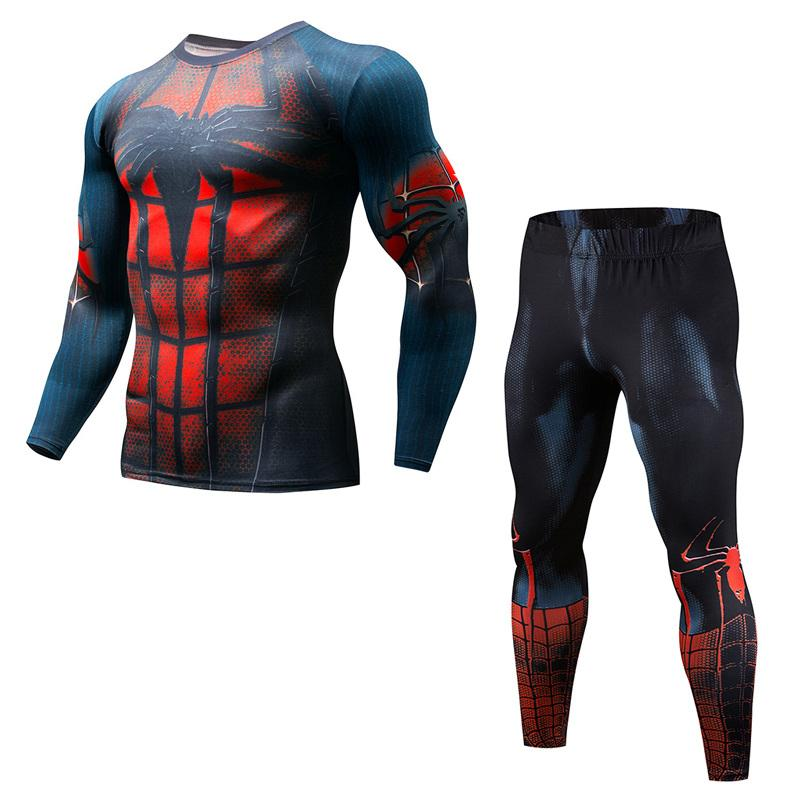 1642167bb983d Compre Mais Novo Dos Homens De Fitness Conjuntos De Compressão Flash T  Shirt 3D Impresso MMA Crossfit Camisa Muscular Leggings Camada De Base Tops  Apertados ...