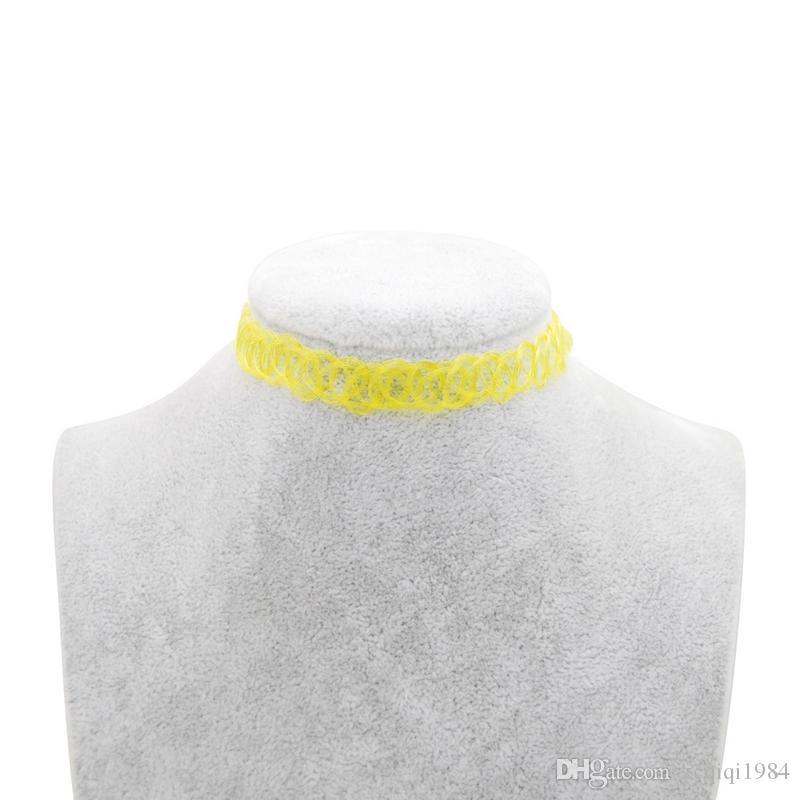 Tattoo-Halskette Frauen-Weinlese Stretch Tattoo-Halsketten für Frauen-Mädchen-Charme Gothic Elastic Kette weiblich Wedding Gift