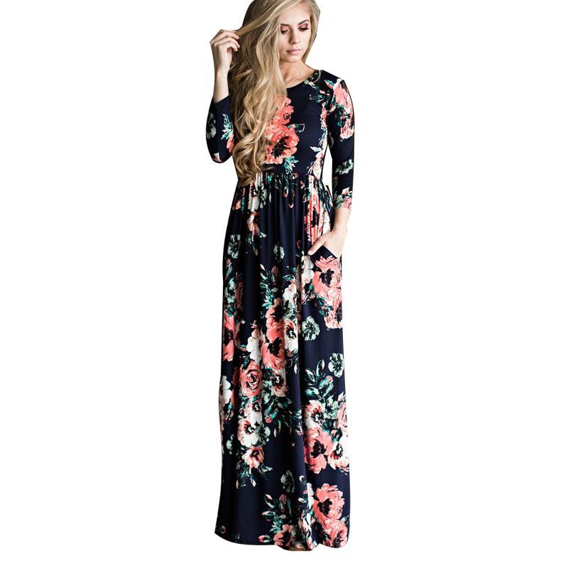 613e74e94726e 2019 Bohemian Maternity Dress Floral Printed Dresses For Pregnant Women Long  Three Quarter Sleeve Loose Maxi Dress Vestidos Boho 3XL From Oliveer, ...