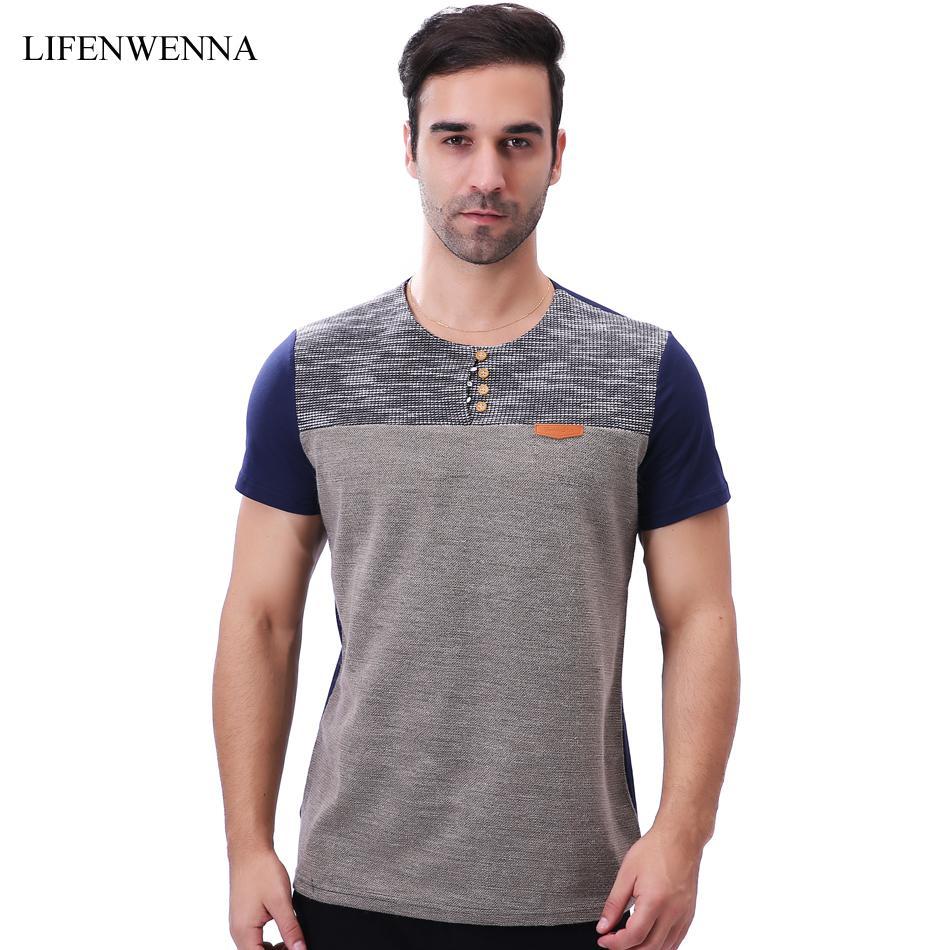 c08dfa9c1865 Fashion Brand Men S T Shirt 2018 New Casual Patchwork Short Sleeve T Shirt  Mens Buttons Decoration Slim Fit O Neck Tops Tees 5XL T Shirts Online White  Shirt ...