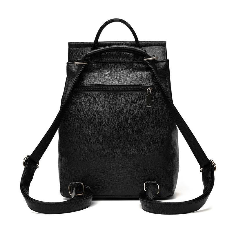 Women Leather Backpack Minimalist Solid Black High Quality School Bags for  Teenagers Girls Preppy Style Backpacks Backpack Style Backpack Fashion Bag  Online ... 0ebdbb5e49