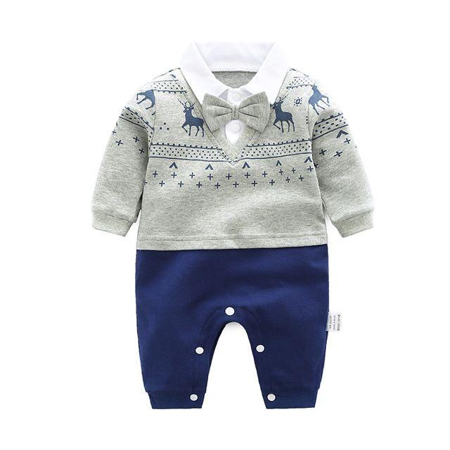 87b1e400e3dc Baby Rompers 2018 Newborn 0-18M Gentleman Clothing Set Infant Bow ...