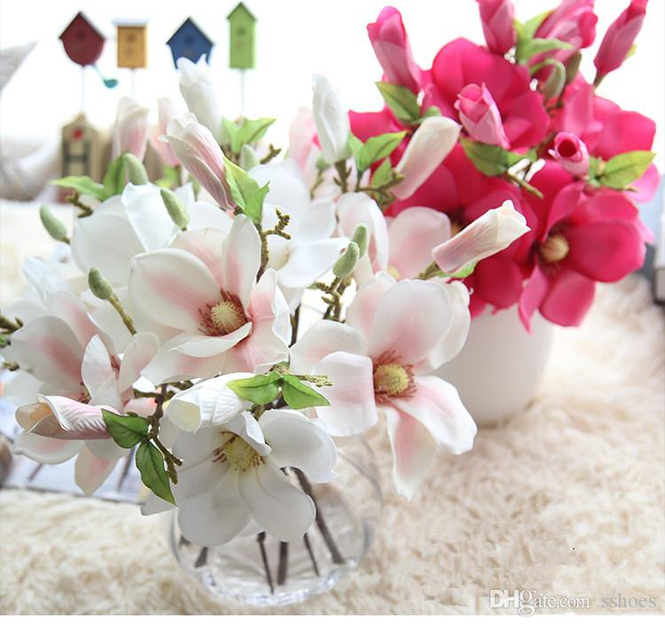 wedding party decor silk artificial magnolia artificial flower bush fake flowers for home party wedding new year christmas decoration wedding cake flowers