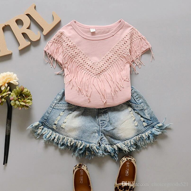 Summer Girl Clothes Tassels Shirt &Tassels Denim Jeans Shorts 2 PCS Girls Clothing Sets Suit Clothes Girls Clothes