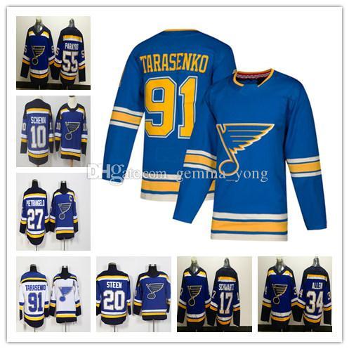 big sale 521dd ec8fc 2019 Men St. Louis Blues Hockey 91 Vladimir Tarasenko 27 Alex Pietrangelo34  Jake Allen 55 Colton Parayko 10 Schenn 20 Steen Jerseys Cheap