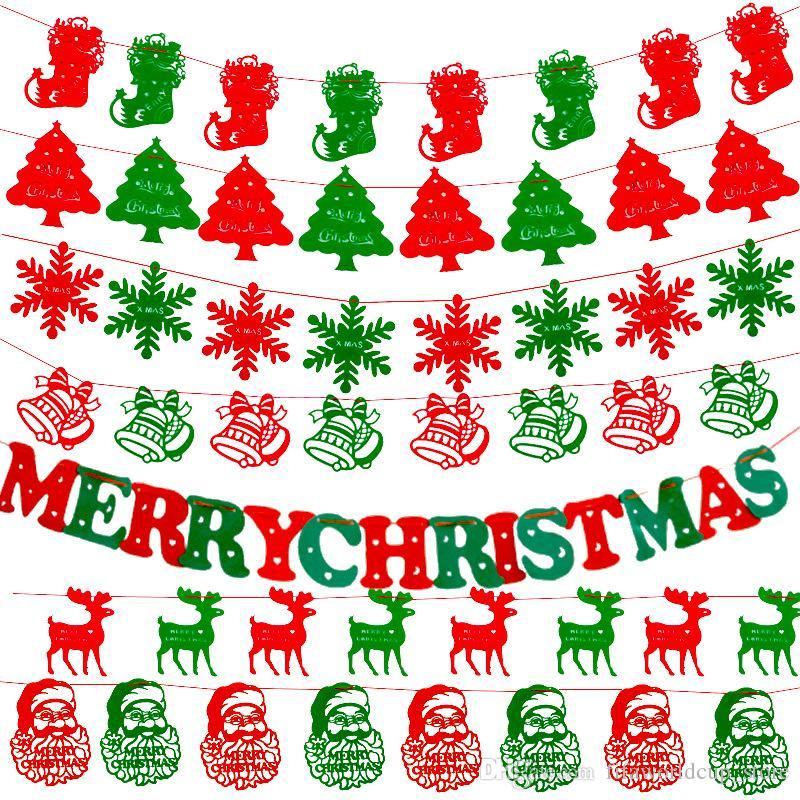 2018 Diy Non Woven Fabric Xmas Flags Santa Clause Floral Bunting