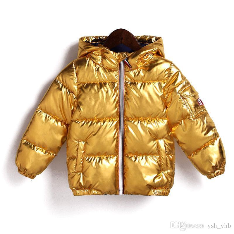 25ca3777a492 2018 Kids Bread Thick Hooded Jacket 2018 Winter Down Coat Baby Boys Gold  Silver Outwear Children Clothing Kids Winner Clothing Winter Jackets For  Kids Boys ...