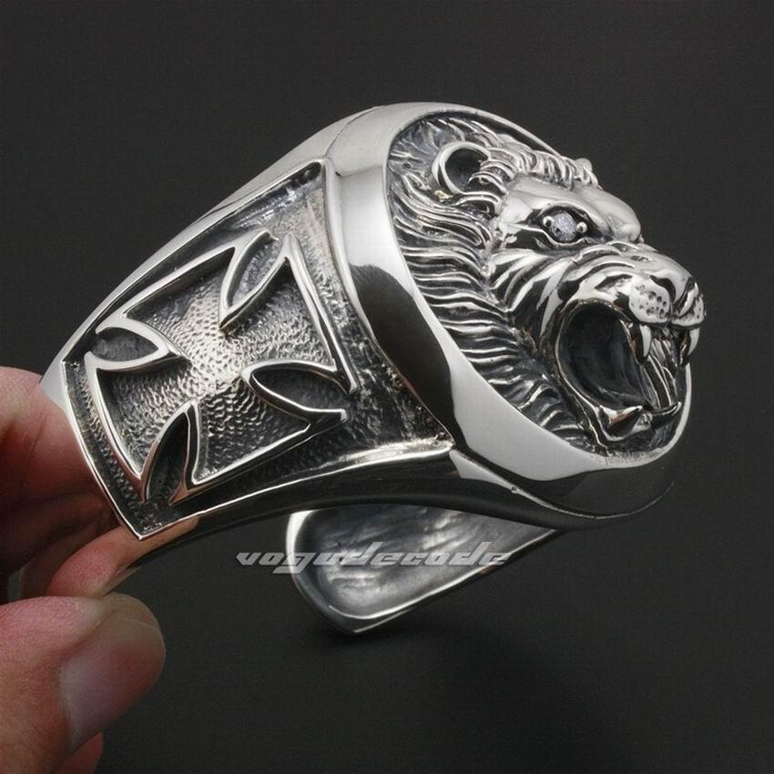 LINSION Riesige Schwere Lion Knight King Kreuz 925 Sterling Silber Herren Armband Armreif 9A003