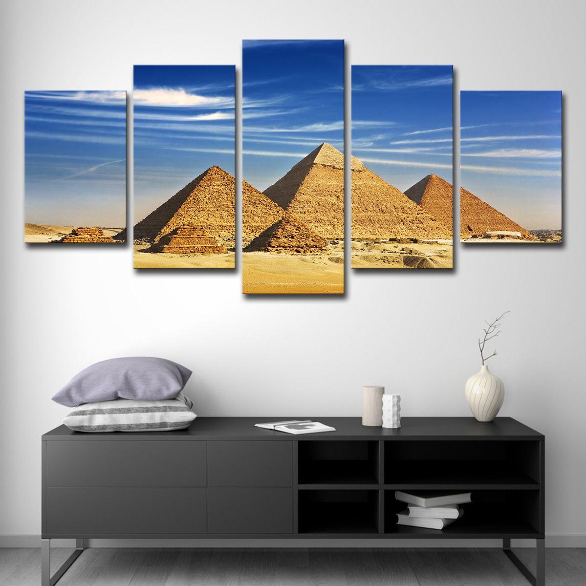 Satın Al 5 Panel Mısır Piramitleri Resim Modern Soyut Resim Boyama