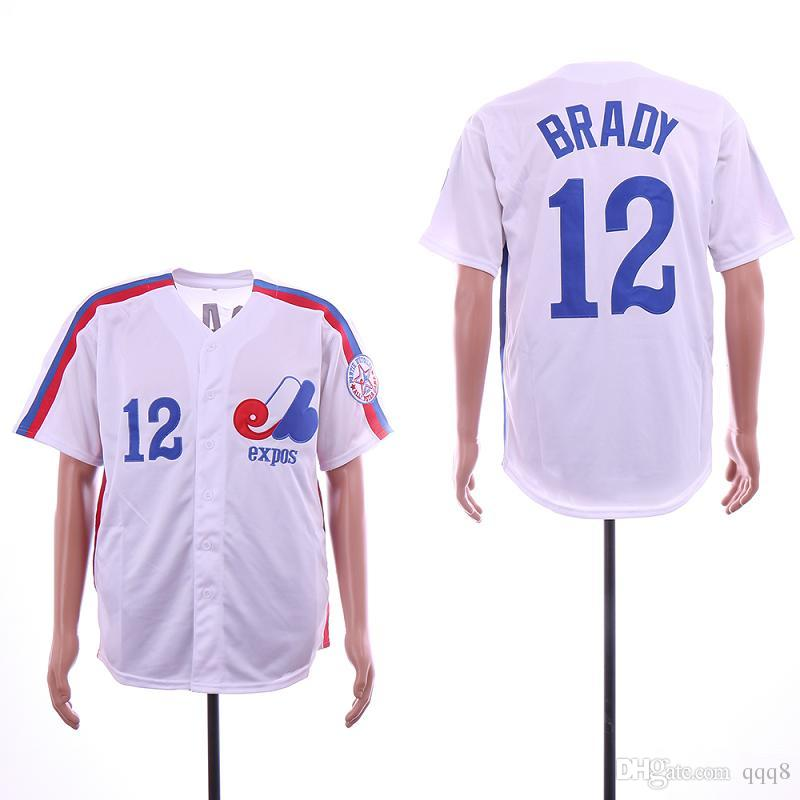 630a3284e10 Montreal Expos Baseball Jerseys #12 Tom Brady Jersey White Jersey Top  Quality !