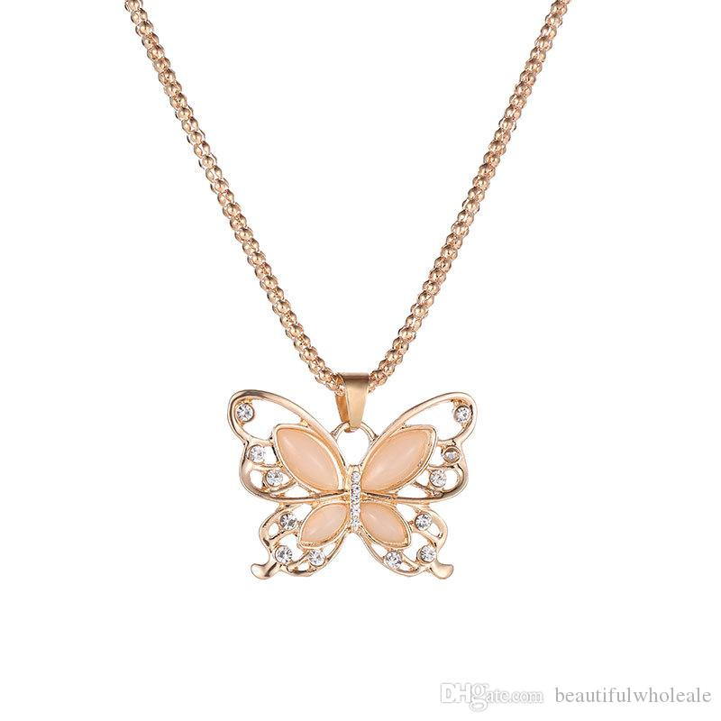 255b0243e8a10 Fashion Silver rose gold Creative butterfly pendant necklace Shaped Pendant  Necklace for Man Jewelry Special Gift Free Shipping