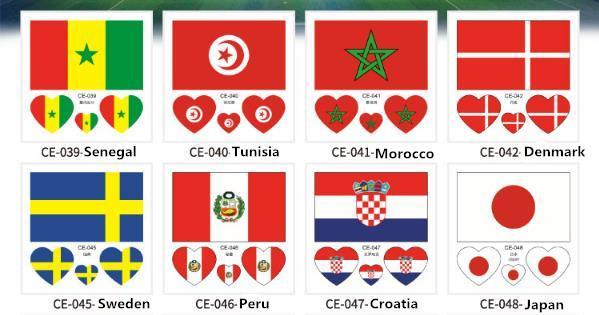 2018 Temporary Tattoos Flag Tattoo Sticker Football World Cup Face Sticker Fan Tattoo Body Art Waterproof Long-lasting